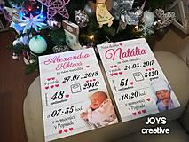 Detské doplnky - Detská tabuľka s údajmi o narodení dieťatka (Font - tlačený 27x19) - 10482608_