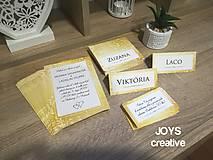 Papiernictvo - Zlaté svadobné oznámenie vrátane pozvánky k svadobnému stolu - 10482617_