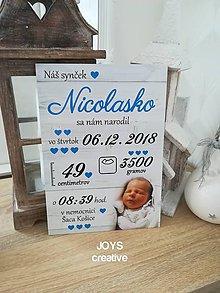 Detské doplnky - Detská tabuľka s údajmi o narodení dieťatka (Font - tlačený 27x19) - 10482549_
