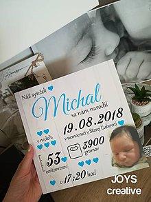 Detské doplnky - Detská tabuľka s údajmi o narodení dieťatka (Font - tlačený (štvorec) 25x25) - 10482560_