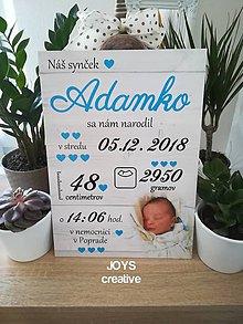 Detské doplnky - Detská tabuľka s údajmi o narodení dieťatka (Font - tlačený 38x27) - 10482570_