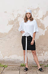 Sukne - Čierna úzka sukňa s lampasmi BLACK & WHITE COLLECTION - 10481864_