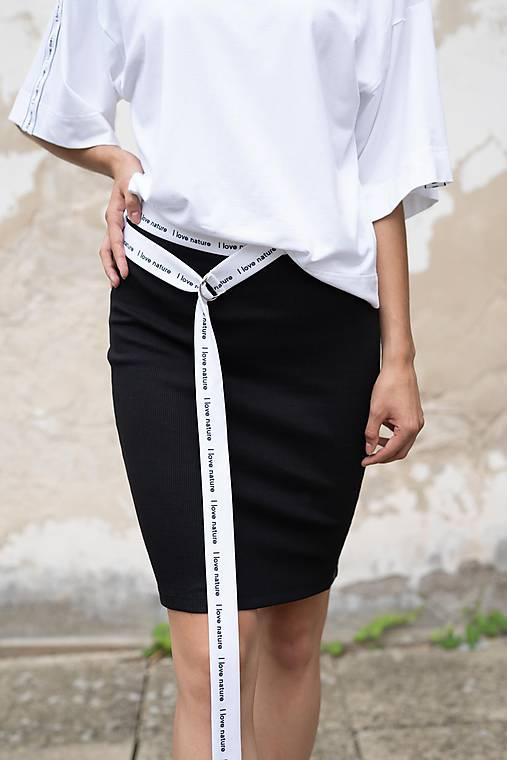 Čierna úzka sukňa s lampasmi BLACK & WHITE COLLECTION