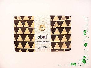 Úžitkový textil - Voskované vrecko s gombíkom - Trojuholníky - 10481541_