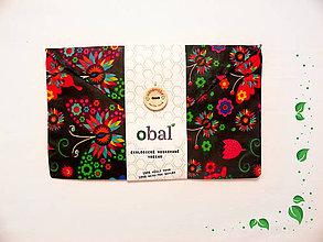 Úžitkový textil - Voskové vrecko s gombíkom - Motýle tmavé - 10481622_
