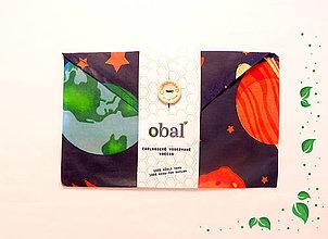 Úžitkový textil - Voskované vrecko s gombíkom - Vesmír - 10481836_