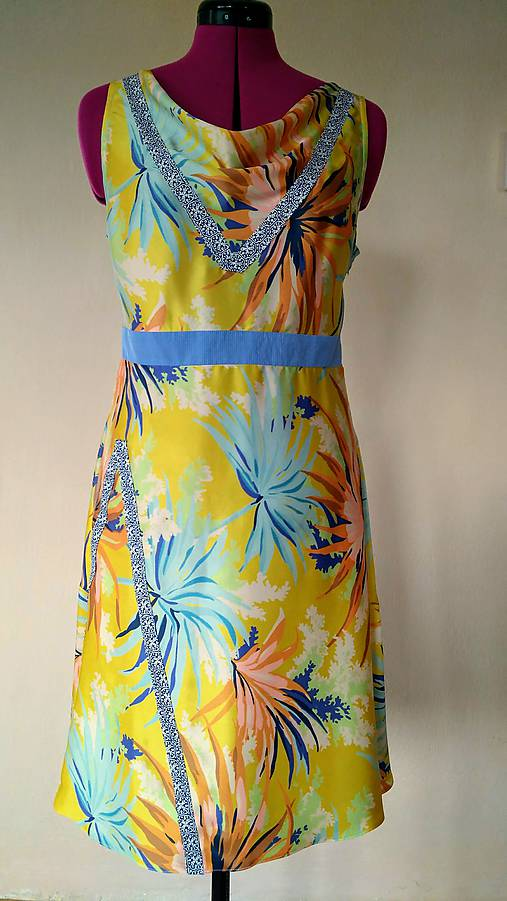 6d212fe8ad7b Žlto-modré hodvábne šaty   GabbySosaCouture - SAShE.sk - Handmade Šaty