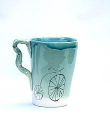 Nádoby - šálka XXl s bicyklom (Tyrkysová) - 10480147_