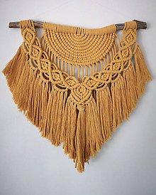 Dekorácie - Makramé (Okrová) závesná dekorácia - 10480149_