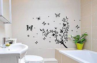 Dekorácie - Nálepky na stenu - Krík viniča s motýľmi - 10478933_