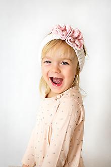 Detské doplnky - Kvietkovaná smotanová čelenka - 10480353_