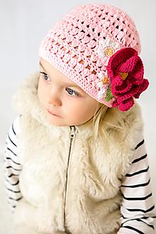 Detské čiapky - Kvietkovana čiapočka na jar/jeseň - 10480586_