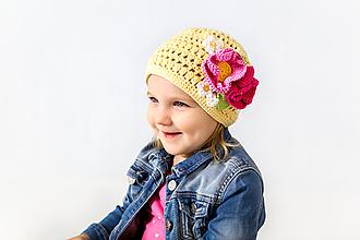 Detské čiapky - Prechodná čiapka pre dievčatá JAR/JESEŇ - 10481725_
