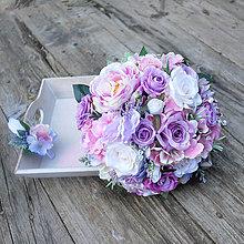 Kytice pre nevestu - Svadobná kytica ružovo-fialková - 10484868_