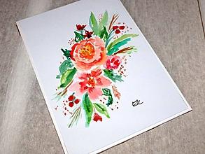 Papiernictvo - Maľovaná pohľadnica - ruže - 10482746_