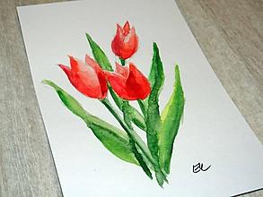 Papiernictvo - Maľovaná pohľadnica - Tulipány - 10482752_