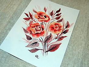 Papiernictvo - Maľovaná pohľadnica - Kvety - 10482754_