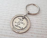 Kľúčenky - Kľúčenka duo circles s nápisom na želanie - 10485104_