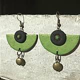 Náušnice - Jarná kolekcia / Zelené polkruhy - 10485983_