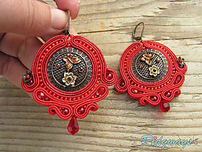 Náušnice - Button collection...soutache (Red/Bronze) - 10484577_