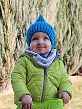 MIJANI Detská čiapka škriatkovský čepček - tmavá tyrkysová