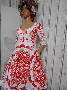 """Šaty - FLORAL FOLK """" Slovenská ornamentika"""" midi šaty v červenom - 10482831_"""