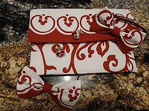 """Kabelky - Listová kabelka """" Red & white """" (motýlik a vreckovka do saka) - 10485257_"""