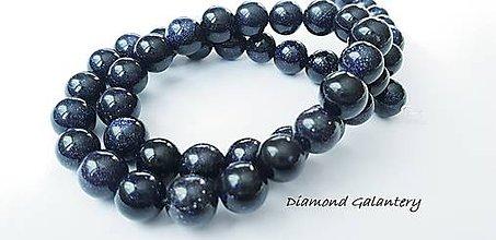 Korálky - Pieskovcové korálky s perleťou - 8 mm - čierne - 10485834_