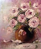Obrazy - Ruže v hnedej váze_predané - 10484718_