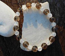 Náramky - brown cristall and cristall - 10486167_
