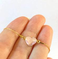 Náramky - zlatý náramok so srdiečkom - 10484971_