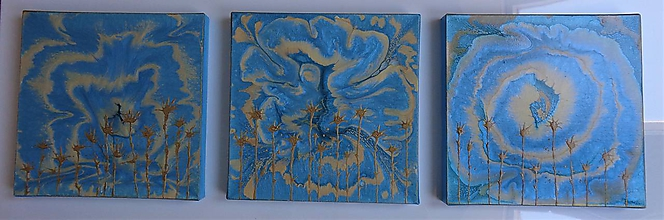 Obrazy - Zlatomodrý abstrakt - 10485052_