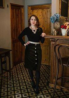 Sukne - Úzka zamatová sukňa - 10485973_