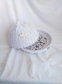 Nádoby - Biely okrúhly chlebník - 10483641_