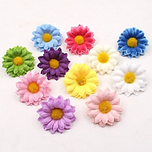 Polotovary - kvietky textilné daisy 2cm (Modrá) - 10484959_