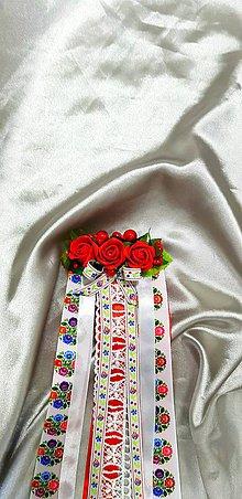Ozdoby do vlasov - Folklórny kvetinový hrebienok so stuhami - 10484859_