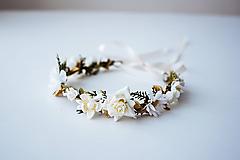 Ozdoby do vlasov - Bielý letný kvetinový venček - VÝPREDAJ - 10482638_
