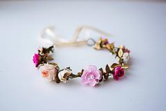 Ozdoby do vlasov - Ružový letný kvetinový venček - VÝPREDAJ - 10482647_