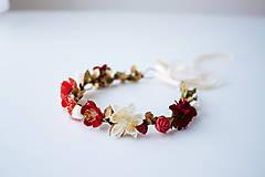 Ozdoby do vlasov - Červený letný kvetinový venček - 10482650_