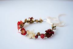 Ozdoby do vlasov - Červený letný kvetinový venček - 10482652_