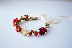 Ozdoby do vlasov - Červený letný kvetinový venček - 10482653_