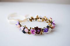 Ozdoby do vlasov - Fialový letný kvetinový venček - VÝPREDAJ - 10482658_