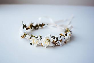 Ozdoby do vlasov - Bielý letný kvetinový venček - 10482638_