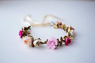 Ozdoby do vlasov - Ružový letný kvetinový venček - 10482647_