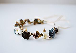 Ozdoby do vlasov - Čierný letný kvetinový venček - 10482666_