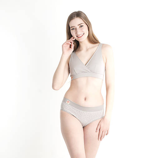Bielizeň/Plavky - Športová podprsenka z bio bavlny GOTS - šedá - 10485361_