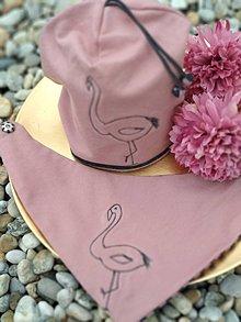 Detské čiapky - Detská čiapka s nákrčníkom Plameniak - 10484930_
