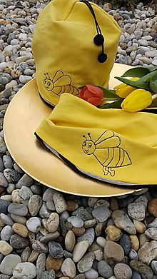 Detské čiapky - Detská čiapka s nákrčníkom Včielka - 10484986_