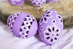 Dekorácie - slepačie vŕtané fialové - 10485566_
