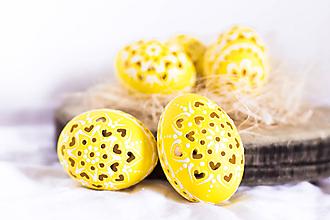 Dekorácie - slepačie kraslice žlté - 10485603_